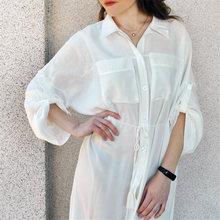 2019 Summer Women Plus Size Beachwear Cover-ups White Cotton Tunic Beach Wrap Bath Dress Swim Suit Bikini Cover Up Woman #Q717