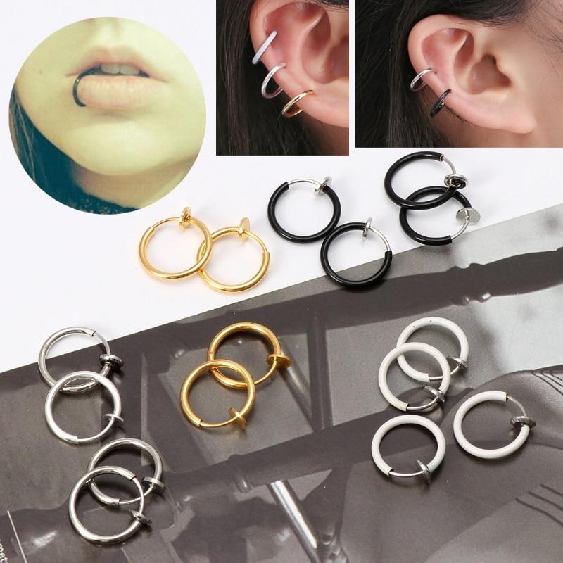 4pcs Women Clip-On Non Piercing Spring Action Fake Nose Septum Lip Ring