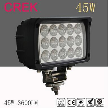 45W LEDs Work Light 12V Trucks Lamp 6 inch 24V Off Road Flood Beam Car Lights white color led work light