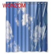 WONZOM Blue Sky Shower Curtains with 12 Hooks For Bathroom Decor Modern Landscape Bath Waterproof Curtain Accessories