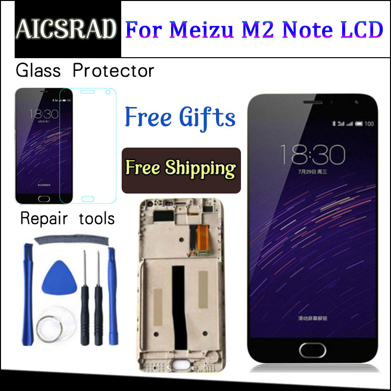 Aicsrad Liquid crystal display Show + Digitizer Contact Display screen Meeting For Meizu M571 M2 Be aware Cellphone 5.5 Inch Meilan Note2 With Body