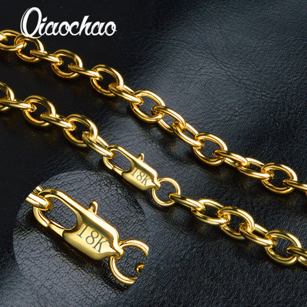 Gold Necklace For Men Jewelry 18K Real Gold Plated Chains 8MM 50CM Fashion Jewelry  Figaro Chain X197