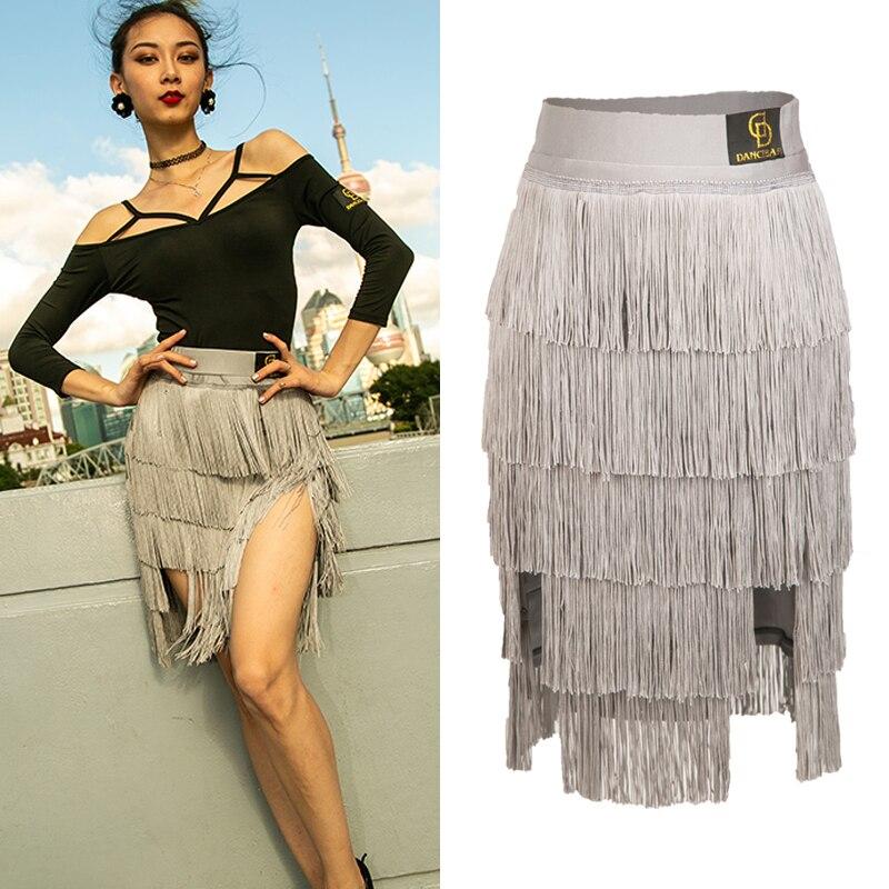 New Latin Dance Skirt For Women Multilayer Fringe Tassels Skirt Ladies Tango Ballroom Competitive Costumes Latin Dress BL1135