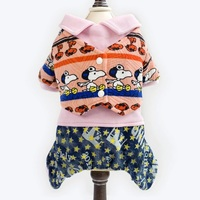 A201 Winter Cute Pet Dog Clothes Warm Puppy Frog Pattern Jumpsuit Hoodie Coat Apparel Puppy Four