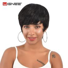 Wignee Short Human Hair Wigs For Women Straight Bob Hairstyle Brazilian Remy 150% High Density Natural Black Wig #1B Color