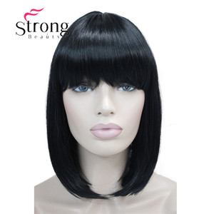 Image 4 - StrongBeauty Short Straight Blonde Highlighted Bob with Bangs Synthetic Wig Black Brown Red Womens Wigs COLOUR CHOICES