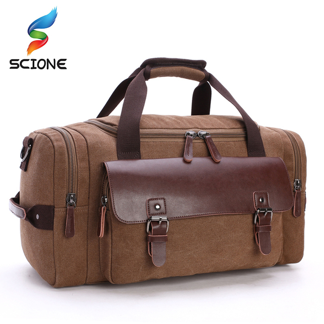 83b735ccbf7e Men Canvas Gym Bag Sports Designer Handbag Outdoor Fitness Travel Camping  Large Capacity PU Leather Duffle