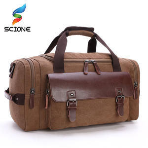 9e035cb31e Men Canvas Gym Bag For Male Outdoor Fitness Travel Camping Large Capacity  PU Leather