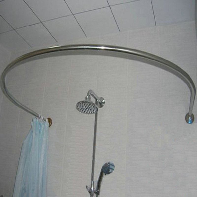 Thick Stainless Steel Round U Shaped Shower Curtain Rod Holder Beautiful And Strong Metal Alloys For Permanent Use In Poles From Home