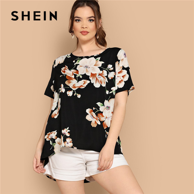 SHEIN Black Boho Floral Print Asymmetrical Hem Short Sleeve Women Plus Size Blouses 2019 Bohemian Summer Vacation Tops Blouse