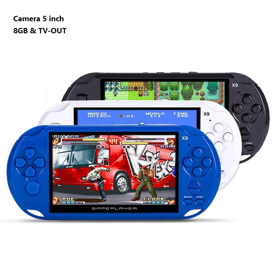 Prix pour 8 GB de Jeu de Poche Joueurs 5 Pouce Portable Console de Jeu MP4 Lecteur X9 Game Player avec Caméra TV Out TF Vidéo Téléchargement Gratuit