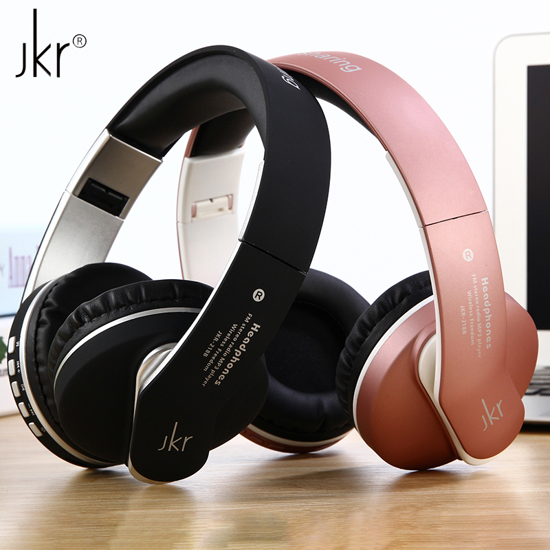 JKR-218B Wireless Bluetooth Headset Headphone Earphone with Mic Support TF Card Music FM for iPhone Xiaomi Smart Phone PC Laptop wireless bluetooth headphone bass stereo headset game sport earphone with microphone support tf card for iphone 7 samsung xiaomi