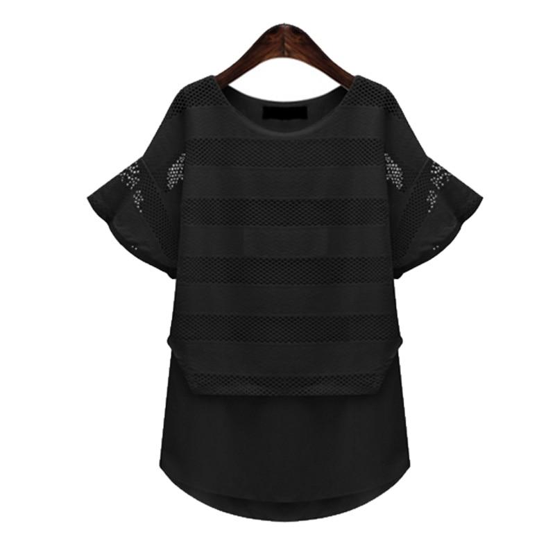 Yibaka женщин 2018 плюс летние пикантные открытые сплайсинга шифоновая блуза футболки с коротким рукавом Свободные повседневные белые женские ...
