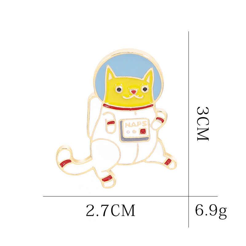 น่ารักการ์ตูนชุดอวกาศ Cat เข็มกลัดสำหรับผู้หญิงตลกน่ารักสัตว์ Pins เครื่องประดับเคลือบ Pin กระเป๋าเป้สะพายหลังกระเป๋าอุปกรณ์เสริม