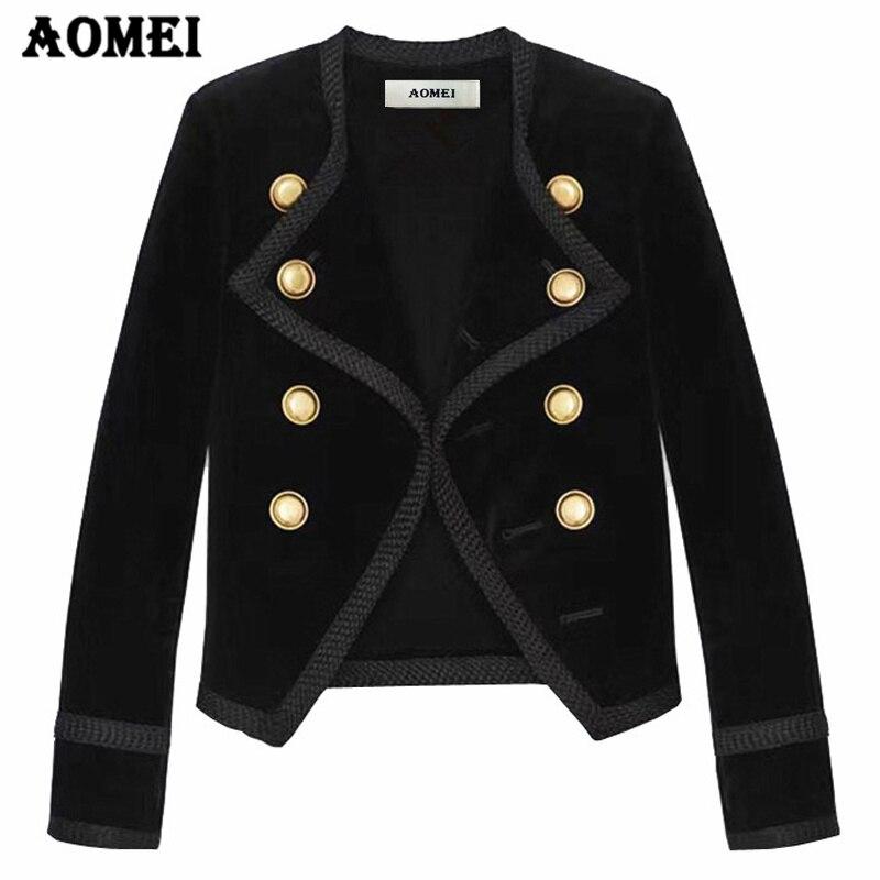 Coat Autumn Women Long Sleeved Suit Collar Black Short Slim All match Velvet Jackets Ladies Temperament