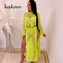Kakan2019 летнее новое горячее женское платье из двух частей