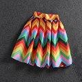 2017 Summer Style Womens Colored Wavy Stripes Skirts Mini Tutu Bust Skirt Fashion Casual midi skirt Elastic Waist Short Skirts