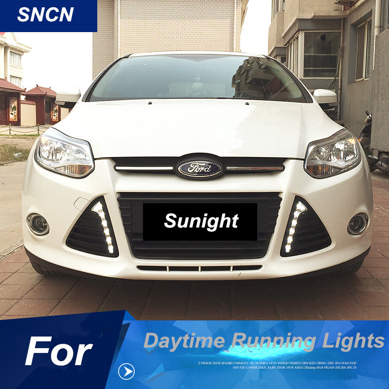 SNCN LED Daytime Running Light for Ford Focus 3 MK3 2012 2013 2014 Fog lamp cover drl driving lights floss surface ladder shape drl led daytime running lights for 2012 ford focus