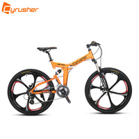 Cyrusher RD100 Folding Mountain Bike Full Suspension frame road Bicycle 24 Speeds 26X17 Inch Double Disc Brakes MTB bike