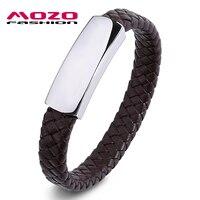 MOZO FASHION Men Punk Bracelet Brown Braided Leather Bracelet Smooth Stainless Steel Buckle Wristband Man Vintage