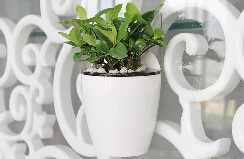 Free shipping,Ailury,new arrival,2pcs/lot,white Plastic flower pots green.lazy wall hanging self,display hanging orchid pot