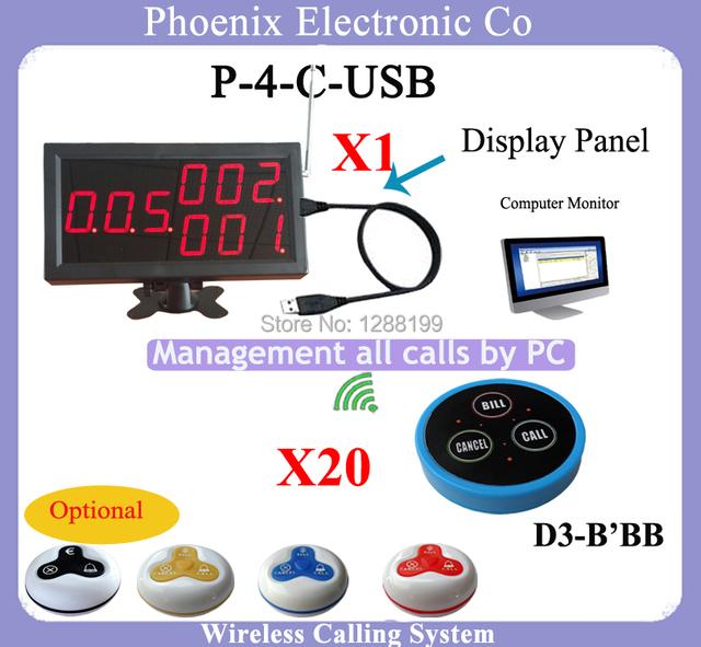 Incluindo Sistemas de chamada sem fio garçom Chamada pager E Exibir o Menu do Receptor, 1 Exibição P-D3 4-C-USB e 20 Campainha Sem Fio