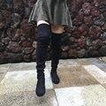 Mulheres Esticar Camurça Sobre as Botas Do Joelho Coxa Plana Botas Altas Sexy Moda Plus Size Shoes 2016 Preto Winered Cinza Nu