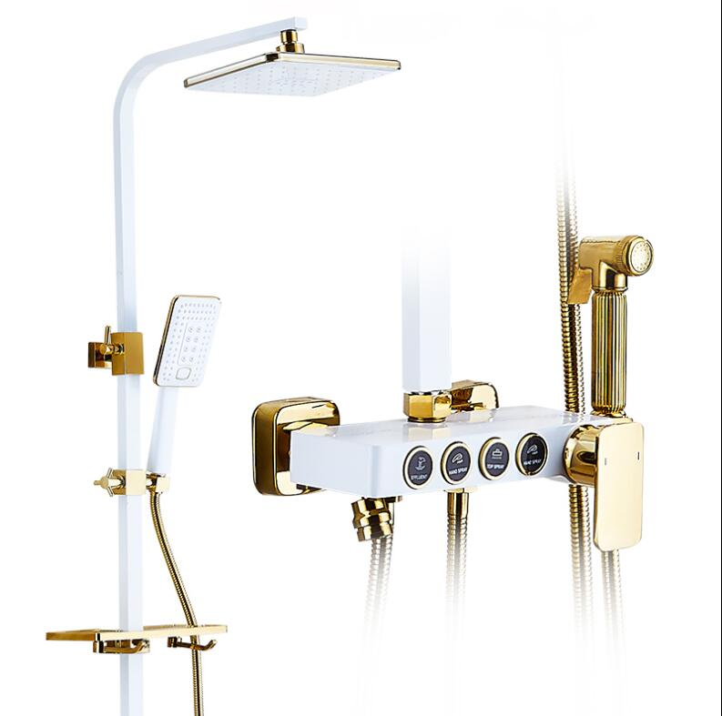 Luxury Bathroom Gold and White Rain Shower Set, Brass Shower Faucet Brass Bath & Shower Faucet Set, Wall Mounted intelligent sole shoe polisher shoe cleaning machine household automatic shoe cleaner