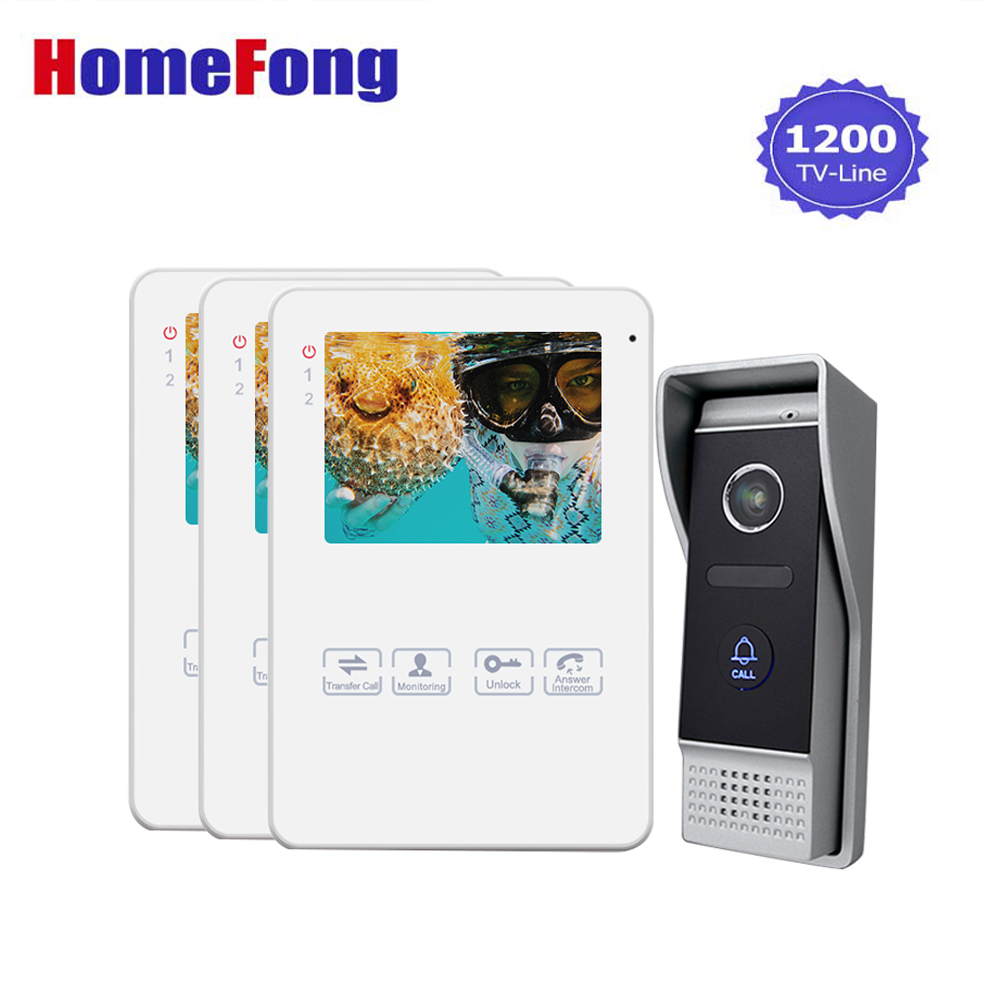 Homefong Video Door Phone Intercom Doorbell Touch Button 3 Monitor 1 to 3 Video Doorbell with Camera Unlok Recording Talk цена