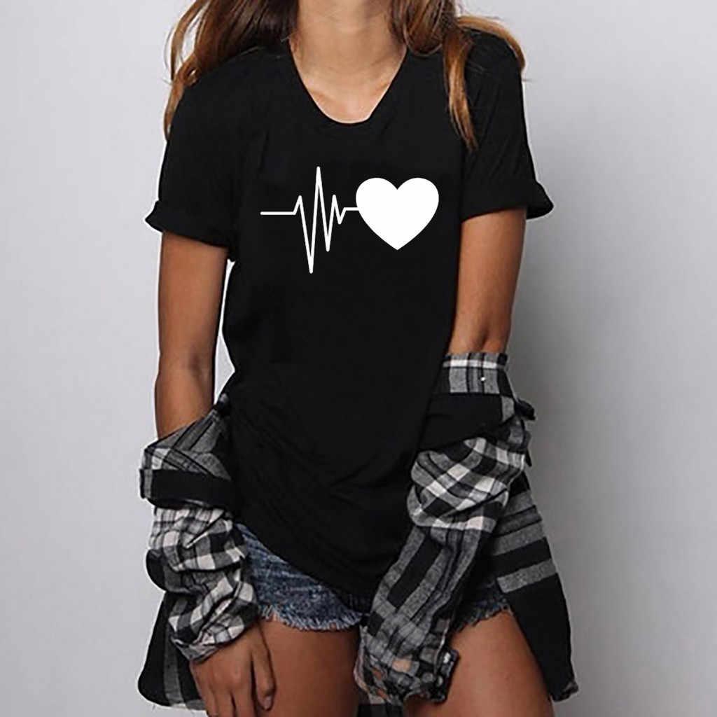 Thời trang nữ áo thun nữ Rời Ngắn Tay Trái Tim In Hình Áo Cổ Tròn mùa hè Đầu blusas mi #20