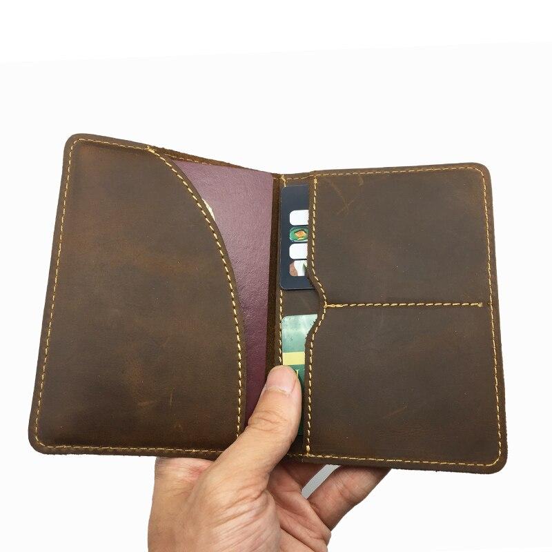 Étui à cartes porte-passeport en cuir véritable Crazy Horse