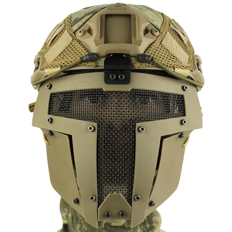 High Quality Airsoft Tactical Mesh Mask Full Face Steel Mask FAST Helmet Mask BK /DE/FG/Green