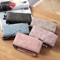 Brand Large Capacity Women Wallets Fashion PU Leather Long Women Wallets Retro Design Coin Zipper Ladies Purse Female Clutch