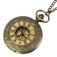 Vintage Watch NecklaceBronze Pocket Watch Clock Pendant Roman Numerals Steampunk Auto Mechanical Women Men Copper Xmas Gift Fob цена 2017