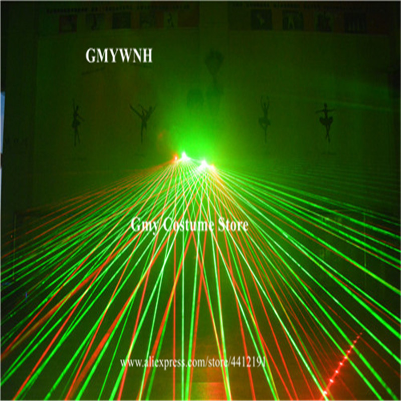 M49 With palm light 2pcs heads laser gloves red laser beams green led gloves dj wears dance costumes glowing bar show gloves ds