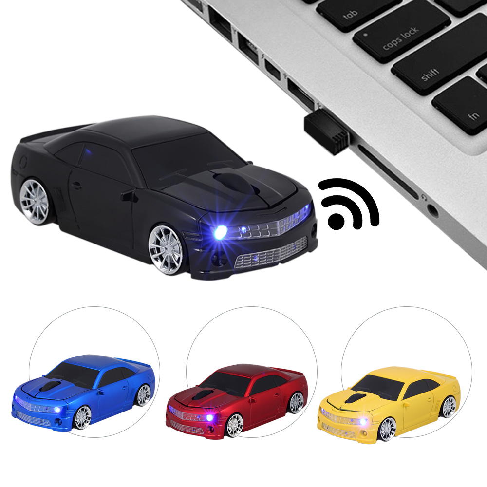 KuWFi 2.4G Wireless USB Computer Mice Car Mouse Car Shape 1000DPI With LED Light Receiver For PC Laptop Desktop Notebook MacBook