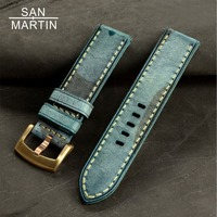 San Martin Watchbands Genuine Leather WatchBand Buckle Clasp Watch Band Leather Strap 22 22mm With Bronze Buckle Brown red green