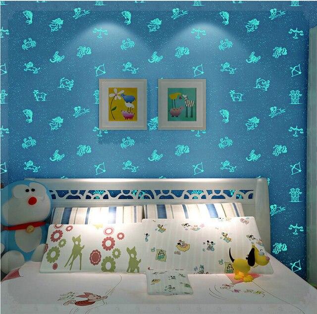 dark blue kids room painted glow in the dark blue wallpaper roll 10m kids room girl boy babies papel de parede