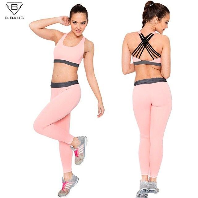 B. BANG Femmes Sport Ensembles pour la Course Yoga Fitness Gym Fille  Vêtements Soutien- 224f25a990f