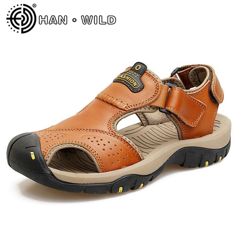 Mens Sandals Quality Handmade Shoes Genuine Leather Summer 2018 New Beach Men Casual Shoes Outdoor Sandals Male Flip Flops