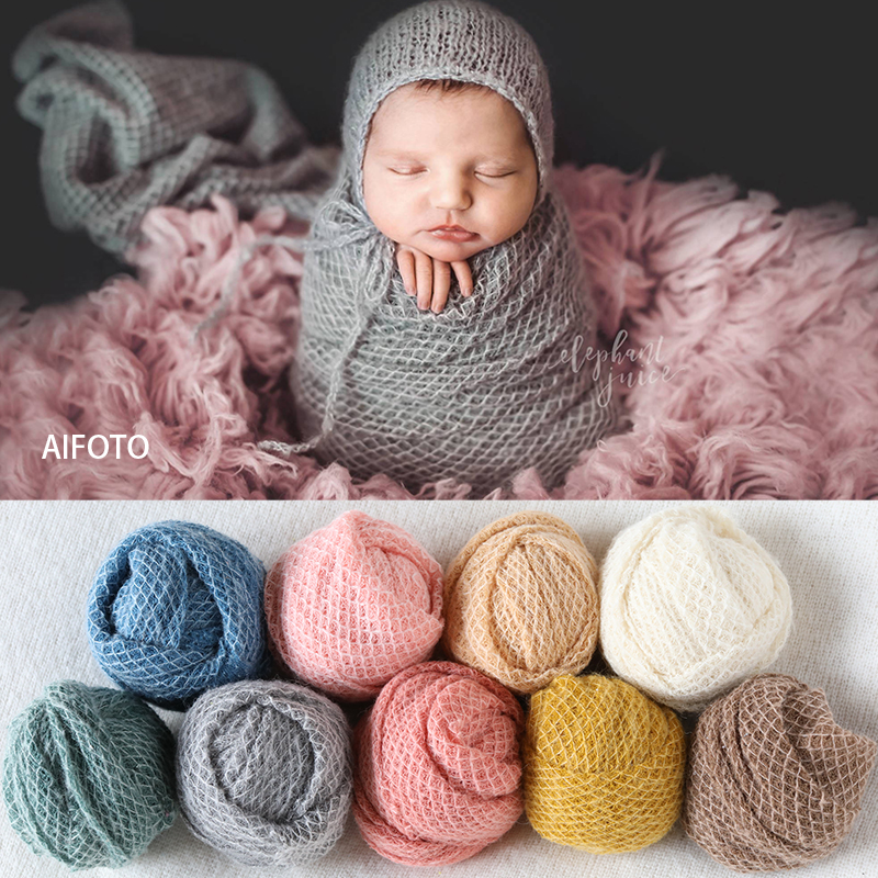 2019 New 40,100, 150x165cm Newborn Photography Props For Background Baby Photo Stretch Lattice Wraps Cocoon Backdrops Flokati