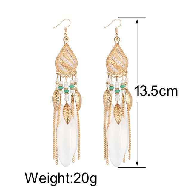 ZOSHI Bohemian Tassel Earrings for Women Dangle Long Earrings Feather Boho Drop Earrings Seed Beads Vintage Jewelry Brincos 6