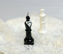 """wedding favor–""""King & Queen Chess Piece Candle Favors which can be used as wedding children baby birthday party cake decorated"""