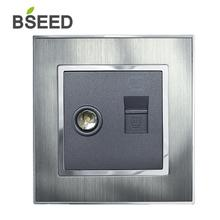 BSEED Wall Socket TV Aerial Coaxial and Ethernet Cat5e 1 Port RJ45 Network Metal Brushed Steel Screwless Sockets