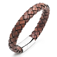 Fashion Jewelry Male Accessories Megnetic Buckle Leather Weave Stainless Steel Bracelet Delicate Bangle for Cool Man CS3001