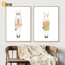 Fashion Rabbit Wall Art Canvas Painting Nordic Posters And Prints Animal Pictures Kids Bedroom Baby Girl Room Home Decor
