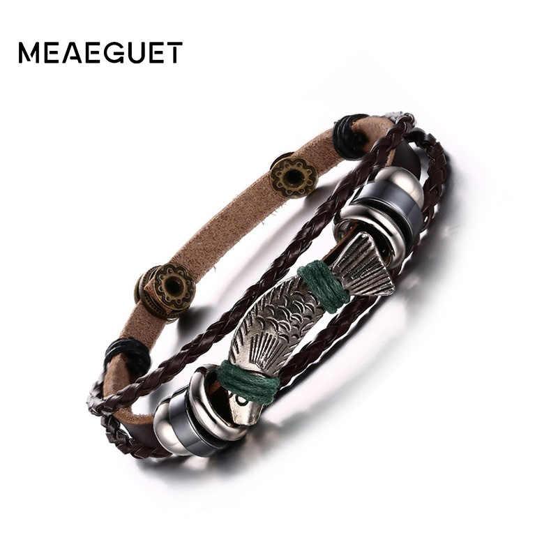 Meaeguet สีน้ำตาลของแท้สร้อยข้อมือหนังและกำไลปลา Charm กำไลข้อมือหนัง Lucky เครื่องประดับปรับ
