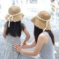 Mamá niñas Sombreros de Las Mujeres Casquillo Del Sol Del Niño Entre Padres E Hijos de Las Mujeres Señora de la Playa Sol Sombrero de Paja Hueca Plegable Del Visera Del Sombrero