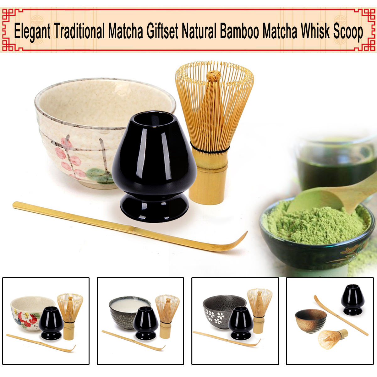 4 teile/satz Traditionellen Matcha Geschenkset Natürliche Bambus Matcha Schneebesen Scoop Ceremic Matcha Schüssel Schneebesen Halter Japanischen Stil Tee-Sets