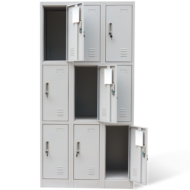 Superbe IKayaa 9 Light Gray Metal Filing Cabinets Wardrobe With Locker Bathroom  Cabinet With Mirror Office Tools